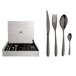 Novecento PVD Titanio, set 24 piese, cutie lemn